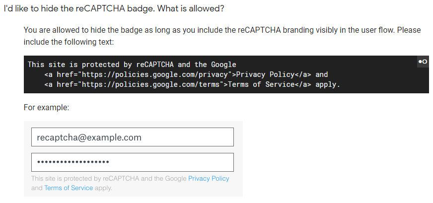 How to legally remove the reCAPTCHA v3 badge — Pupung BP