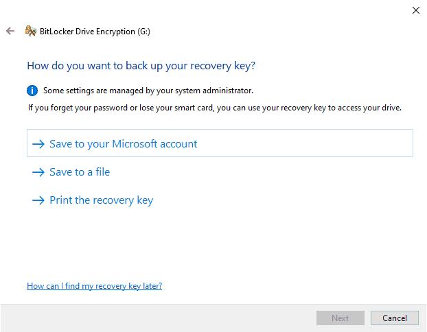 BitLocker recovery code