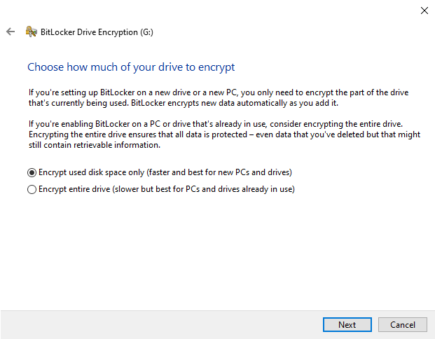 Choose encryption type